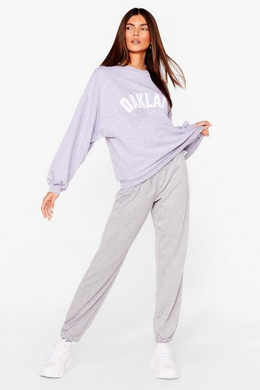 Grey High Waisted Baggy Sweatpants