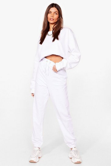 White Run This Town High-Waisted Relaxed Joggers