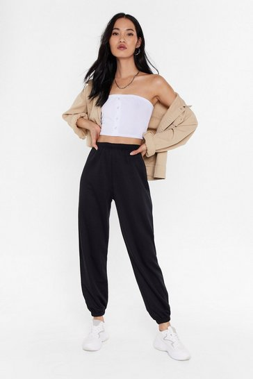 Black Oversized High Waisted Casual Joggers