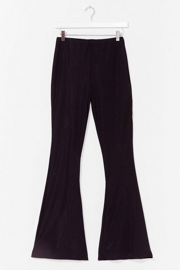 Black Rib-peat After Me High-Waisted Flare Pants