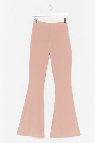 Sand Rib-peat After Me High-Waisted Flare Pants