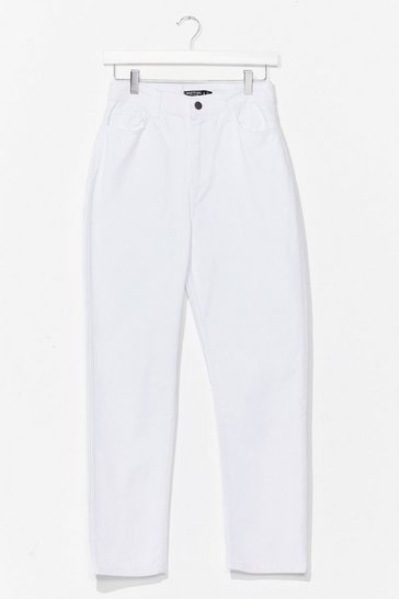 White Relaxed Straight Leg Jeans