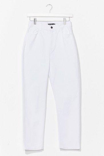 White Distressed Straight Leg Jean