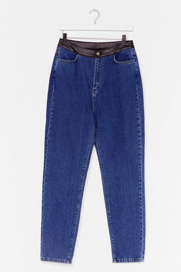 Mid blue PU Detail Straight Leg Jean