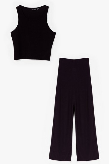 Black Two of a Kind Crop Top and Wide-Leg Pants Set