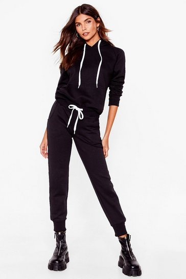 Black No Sweat Pullover Hoodie and Joggers Set