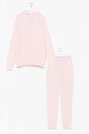 Pink No Sweat Pullover Hoodie and Joggers Set
