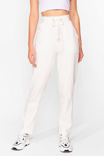 Ecru Run It By 'Em High-Waisted Joggers