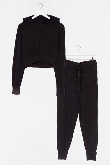 Black Morning Meeting Knitted Ribbed Jogger Lounge Set