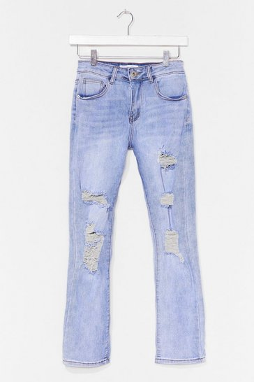 Blue Ripped Acid Wash Straight Leg Jeans