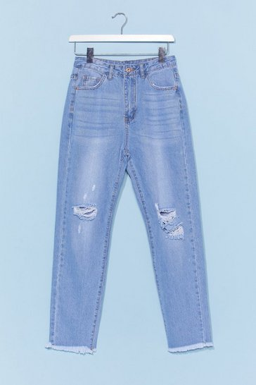 Light blue Distressed Raw Hem Mom Jean