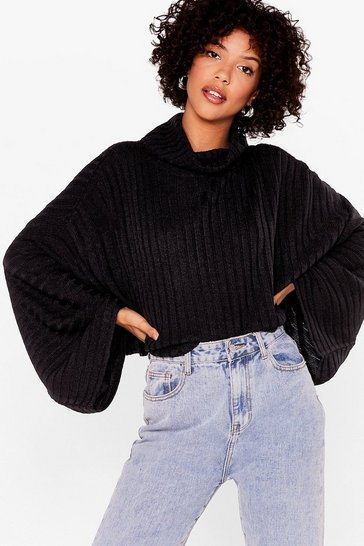 Black Roll With the Punches Knitted Batwing Sweater