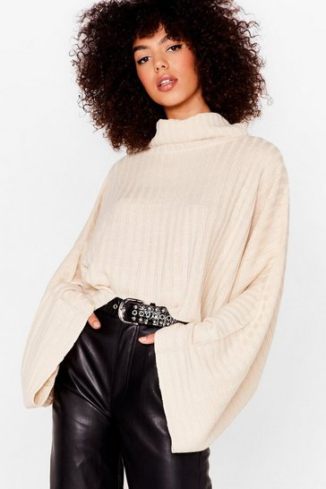 Oatmeal Roll With the Punches Knitted Batwing Jumper
