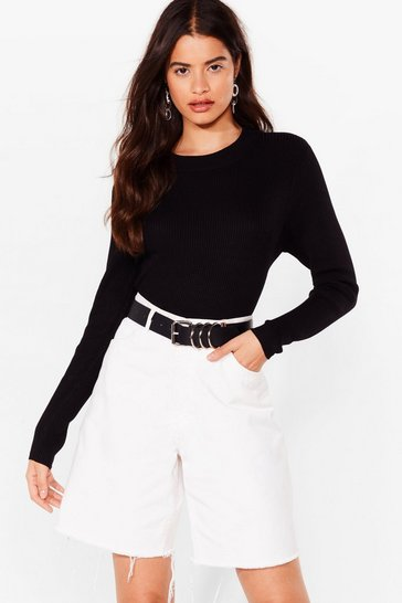 Black Crew's Laughing Now Ribbed Knit Sweater