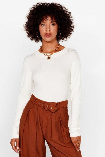 Ivory Crew's Laughing Now Ribbed Knit Jumper