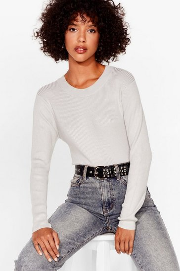 Silver Crew's Laughing Now Ribbed Knit Jumper
