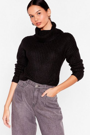Black Roll With Knit Cropped Sweater