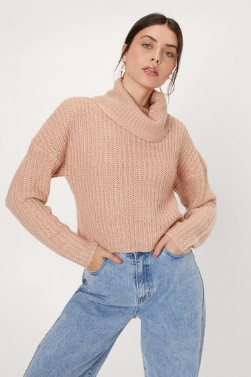 Rose Chunky Turtleneck Cropped Knit Sweater