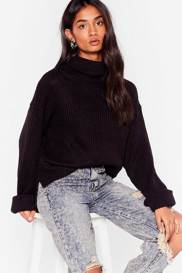 Black Turn Up the Music Knit Turtleneck Sweater