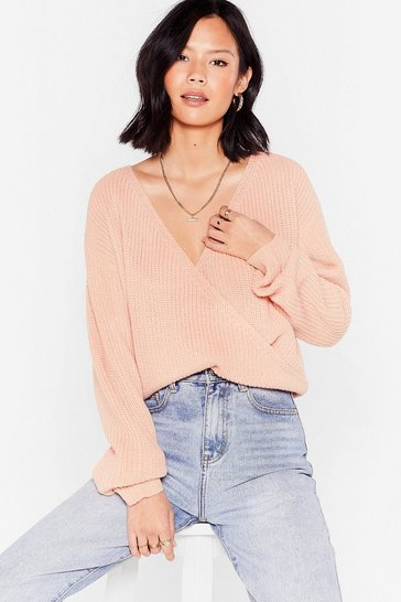 Blush V Right Through You Knit Wrap Sweater