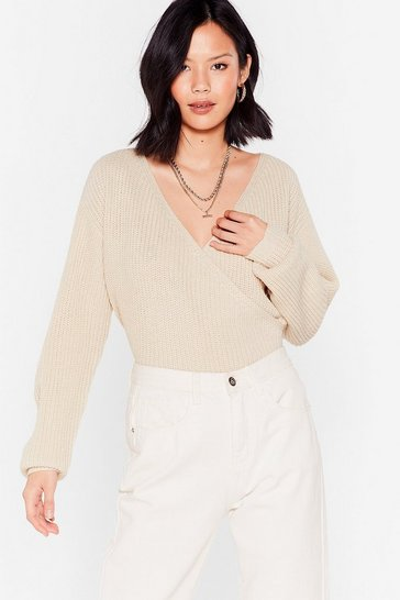 Oatmeal V Right Through You Knit Wrap Sweater