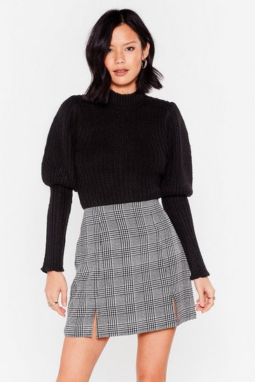 Black Puff Sleeve Knitted Ribbed Jumper