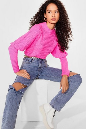 Pink Layer Some Ground Rules Puff Sleeve Knit Sweater