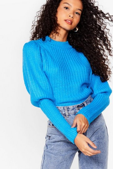 Turquoise Layer Some Ground Rules Puff Sleeve Knit Sweater