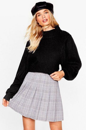 Black What's Knit to You Balloon Sleeve Sweater