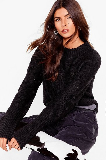 Black Such a Baller Pom Pom Knit Sweater