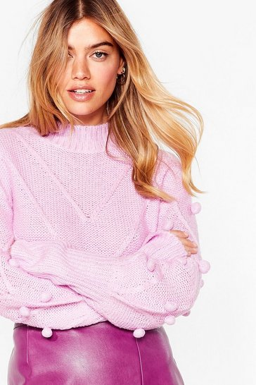Bright lilac Such a Baller Pom Pom Knit Sweater