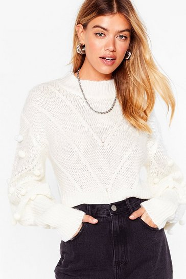 Ivory Such a Baller Pom Pom Knit Sweater