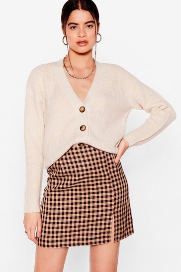 Oatmeal Button the Go Oversized Knit Cardigan