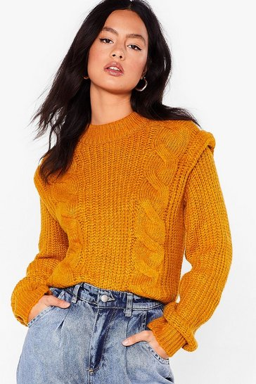 Saffron Shoulder to Lean On Cable Knit Sweater