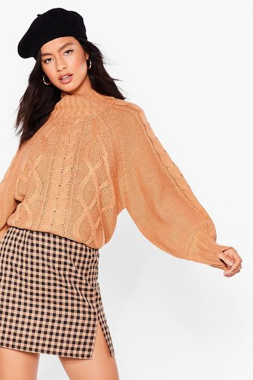 Camel Cable to Love Balloon Sleeve Sweater
