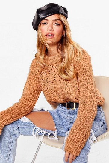 Camel From Our Pointelle of View Relaxed Jumper