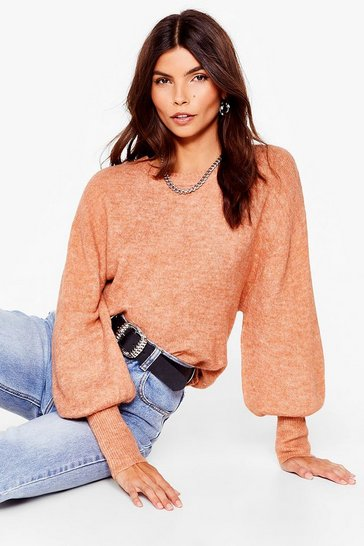 Camel Slouchy When Hungry Oversized Sweater