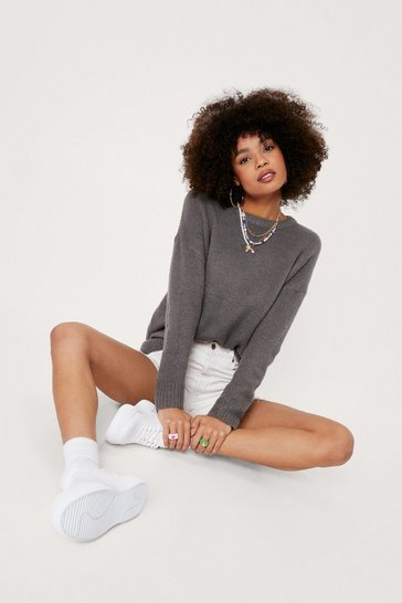 Charcoal Slouchy When Hungry Oversized Sweater