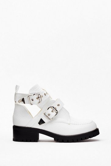 White On Their Good Side Croc Buckle Boots