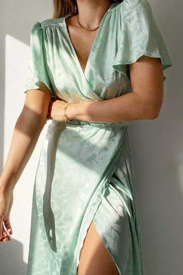 Sage Dont Stop Be-Leafing Satin Wrap Dress