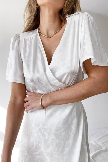 White Dont Stop Be-Leafing Satin Wrap Dress