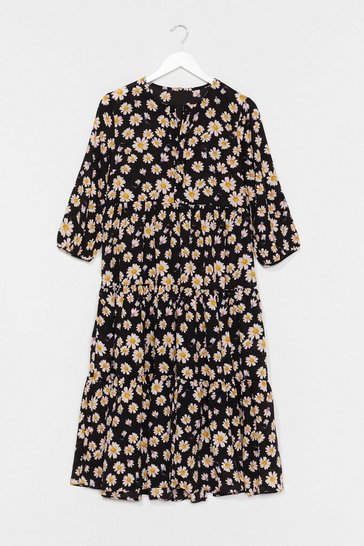 Black Floral Print Midaxi Smock Dress