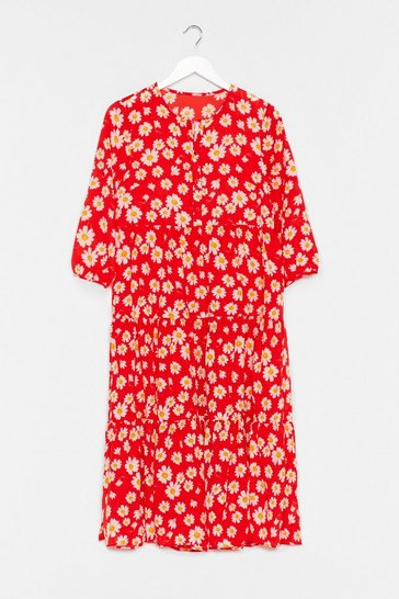 Red Floral Print Midaxi Smock Dress