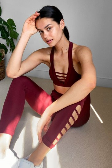 Burgundy Work It Cut-Out Workout Leggings