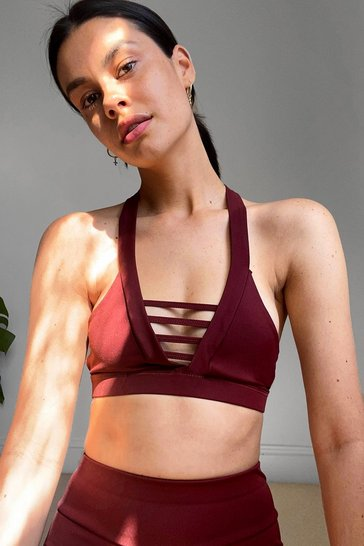 Burgundy Work It Cut-Out Workout Crop Top