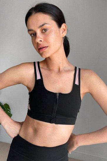 Black Mesh Make a Move Zip Workout Crop Top