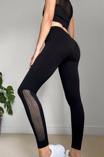 Black The Best is Net to Come Workout Leggings