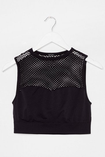 Black The Best is Net to Come Workout Crop Top