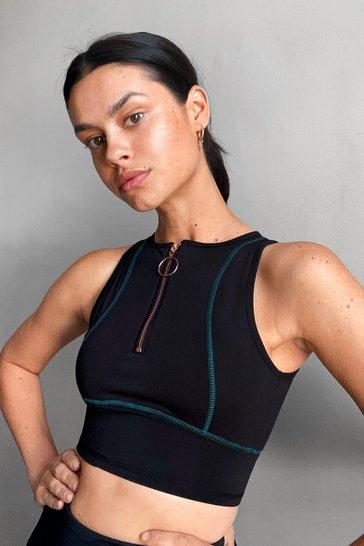 Black Squat Do You Mean O-Ring Zip Workout Crop Top