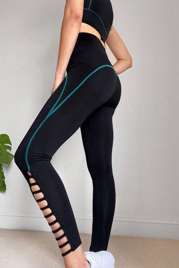 Black Squat Do You Mean Cut-Out Workout Leggings
